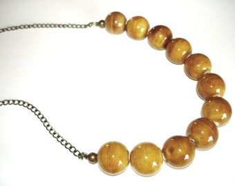 Mustard Yellow Beaded Chain Necklace