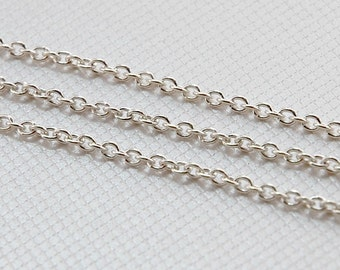 sterling silver chain - oval cable link 2.5 x 2 mm - heavy gauge unfinished bulk chain - necklace chain - sterling jewelry chain