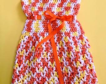 Orange Multi Girls Crochet Dress
