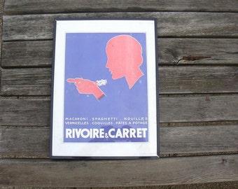 Vintage framed advertising print for Rivoire & Carret mid century France.