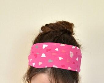 Hearts Headband, Cotton Pink Head Wrap, Boho Wide Stretch Hairband, Yoga Workout Headband, Fitness Headband, Running Hairband, Designscope