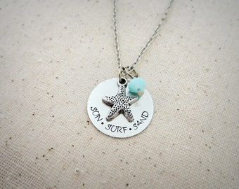 Sun Surf Sand - Hand Stamped Silver Necklace with Star Fish Charm