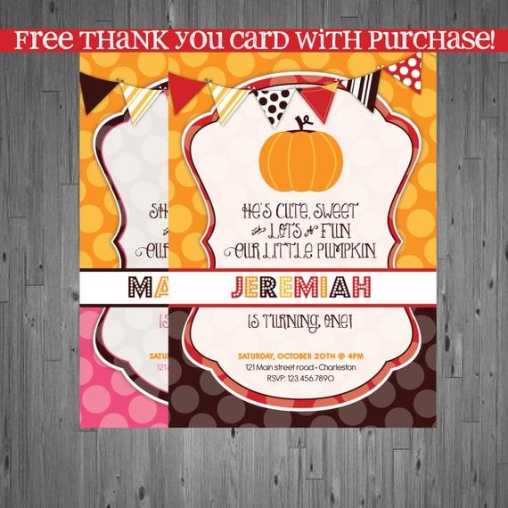 Items Similar To Fall Pumpkin Birthday Invitation, First