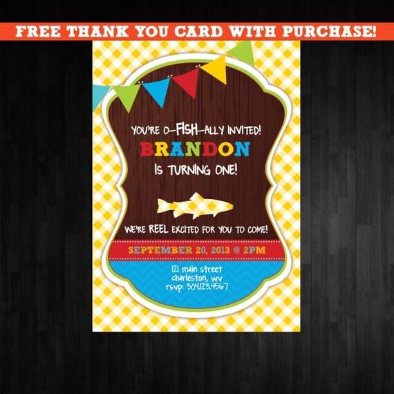 Items similar to fishing birthday invitation first for Fishing first birthday