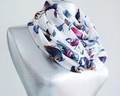 Scarf - Handmade Colorful Bird Infinity Scarf - Summer Chiffon Scarf