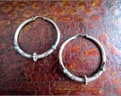 Vintage Indian Silver Turquoise Hoops