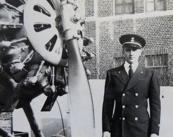 World War II 1940's Pilot Standing Next To His Airplane Snapshot Photo - Free Shipping