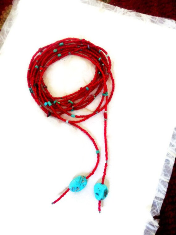 Red Beaded Lariat  African White hearts Lariat Necklace Turquoise Coral Sterling Silver Beads Sundance Jewelry