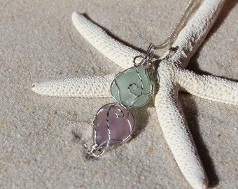 Sea Glass Necklace Purple Sea Foam Green