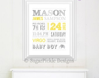 Personalized Nursery Art // Wall Art // Birth Announcement // Baby Shower Gift // Keepsake // Subway Art // Birth Stats // Birth Details