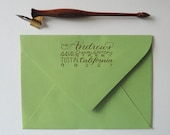 Custom Calligraphy Return Address Stamp - Metropolitan Style