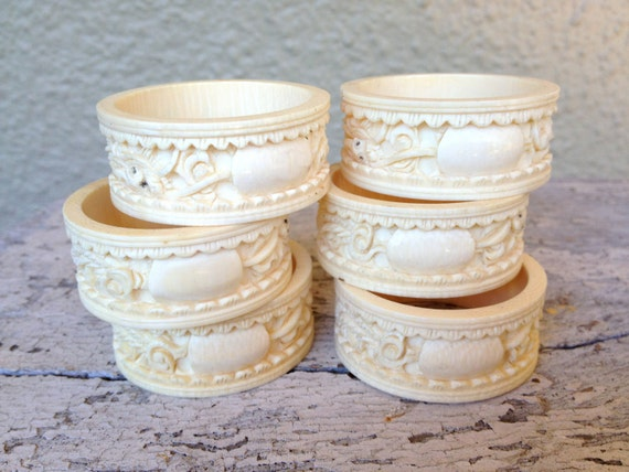 antique faux ivory napkin rings set of six