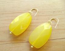 Yellow Drop earrings, Lemon yellow drop earrings, Statement Yellow earrings