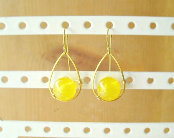 Yellow drop earrings, Yellow earrings wire wrapped in teardrop gold frame