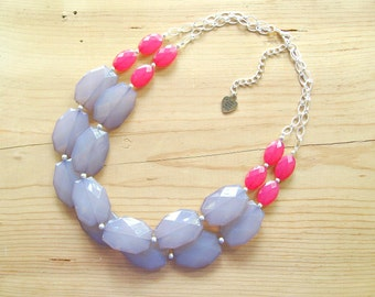 Hot pink and Gray colorblock Necklace, pink and grey statement necklace