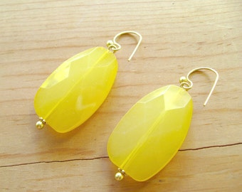 Yellow Drop earrings, Lemon yellow drop earrings, Statement Yellow earrings