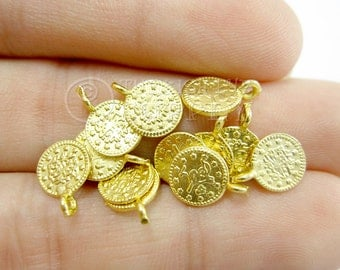 20 Mini Gold Coin Charms, Matte 22K Gold Plated Mini Ottoman Replica Coin Charms, Gold Charms, Findings, Turkish Jewelry