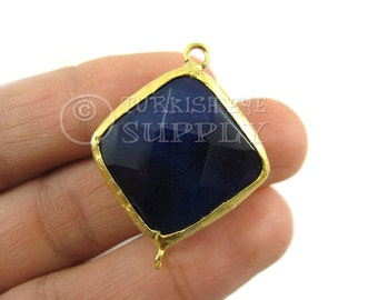 23mm Navy Faceted Jade Square Diamond Connector, Gemstone Connector, Gold Plated Bezel, Bohemian Jewelry, Turkish Jewelry