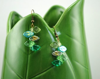 Blue and Green Czech Glass Leaf Earrings, Bohemian, Natural, Nature