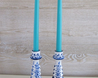 Vintage Blue and White Faience Candlesticks - Portugal