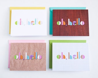 Oh Hello Notecards (set of 4)