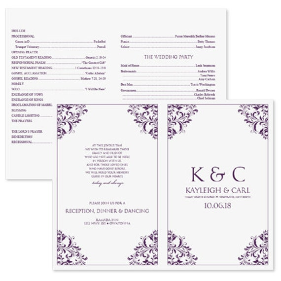 microsoft office wedding program template