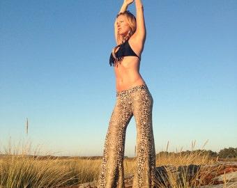 SNAKESKIN animal  jungle print  bell bottom or LEGGINGS fashion gypsy hippie retro festival yoga dance resort  beach lounge pants