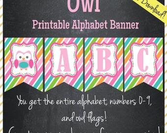 Owl Banner - Printable Alphabet - Instant Download