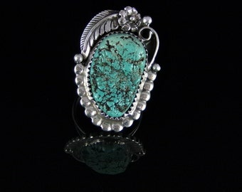 Natural Turquoise Ring Sterling Silver Handmade Size 7.5, R0140