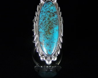 Natural Turquoise Ring Sterling Silver Handmade Size 8.5, R073