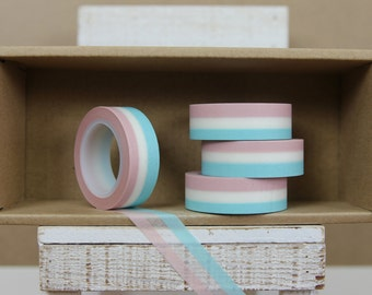 Washi Tape - tricolor horizontal stripes  - light blue/ white/ pink - 2018
