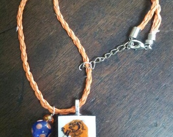 Hand Painted Tiger Domino Necklace