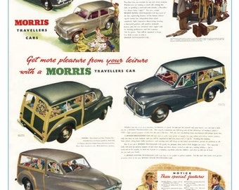 Classic Morris Minor Traveller poster reproduced from the original 1953 brochure