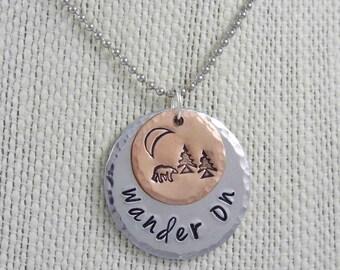 Wanderlust Necklace, Travel Necklace, Wanderlust, Bear Necklace, Travel Jewelry, Outdoor Necklace, Wander On, Moon Necklace, Wander