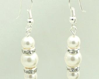 Pearl Earrings - Sterling Silver - Swarovski Pearl Bridal Earrings