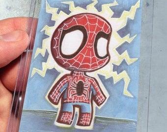 Spider-Man Inspired Geek Baby Spidey Art ACEO Print Kawaii Marker 2.5x3.5