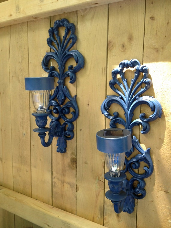Set Of Two Outdoor Solar Light Sconces For Fence Or Side Of