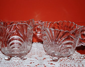 Cambridge Caprice Crystal Clear Glass Footed Creamer & Open Sugar Bowl Set