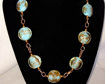 Blue and Copper Lampwork Bead Necklace