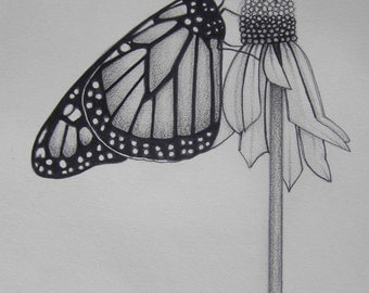 Pencil Art Work Butterfly Hugging A Flower in Black and White Original Drawing-Print