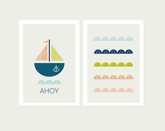 Modern Nautical Series of Two Prints, Modern kids Art, Modern Nursery art, Boys Room Art, Modern Nursery decor.