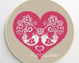 Counted Cross Stitch Pattern PDF Love Bird