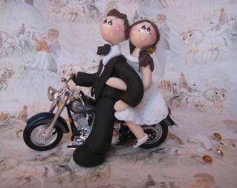 Custom wedding cake topper, Bike wedding cake topper