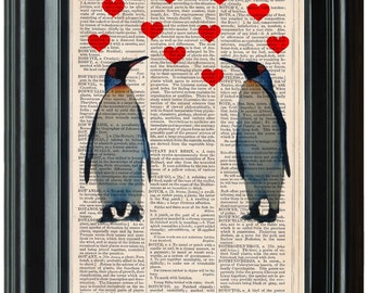 Penguins in Love dictionary art print book page antique vintage dictionary print wall art, Victorian decor, Emperor