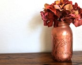 Bronze & Coral Lace Painted  Ball Mason Jar Vase
