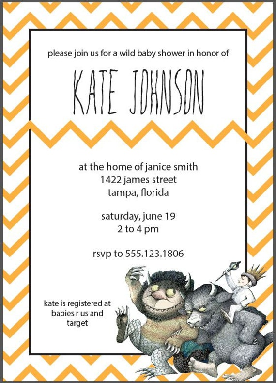 where the wild things are baby shower invitation printable on etsy