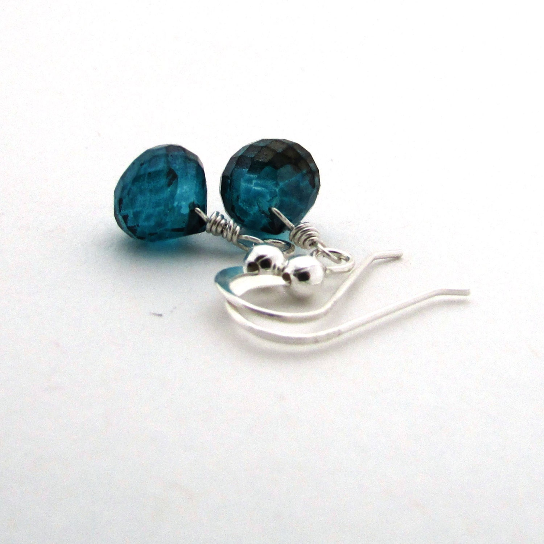 teal quartz earrings peacock blue gemstone jewelry sterling