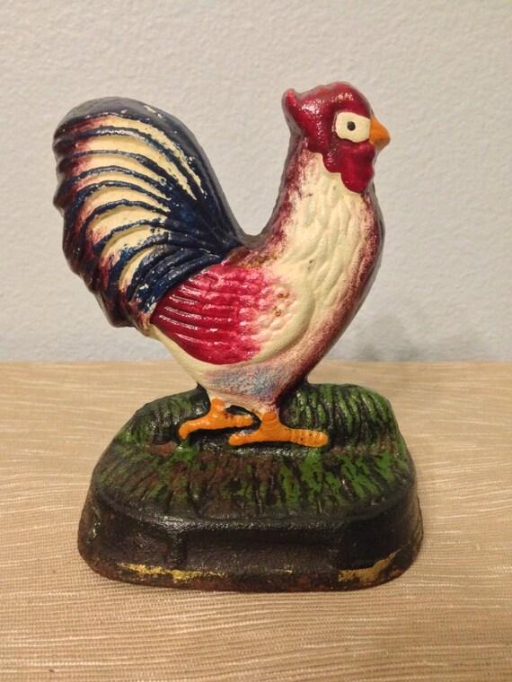Vintage cast iron chicken doorstop bookend by hoofheartedcreations - Chicken doorstops ...