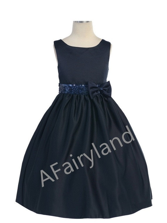 New arrival navy flower girl dresses with champagne sash handmade sequins