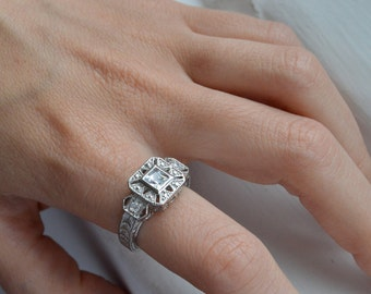 Silver Art Deco Ring - Filigree Ring - Princess Cut Engagement Ring - Silver Promise Ring - Stunning Silver Ring - Vintage Ring